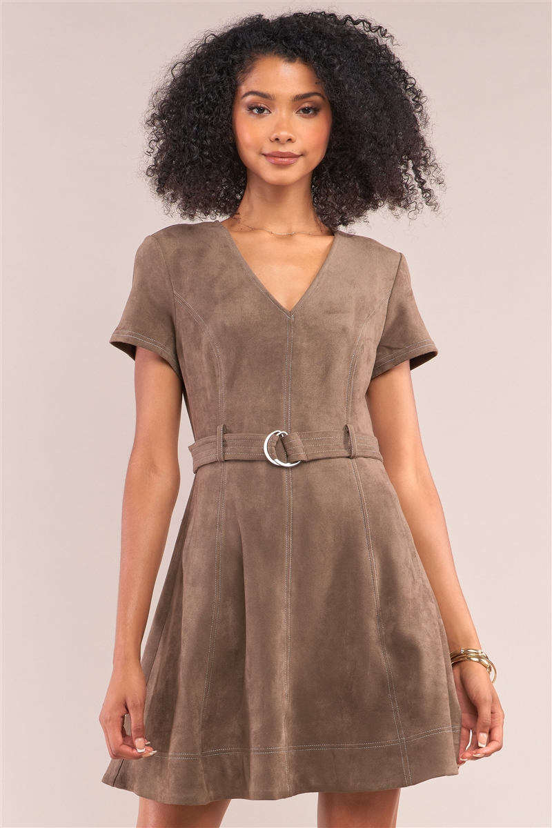 Olive Suede V-Neck Tight Fit D-Ring Buckle Belt Detail Mini Dress