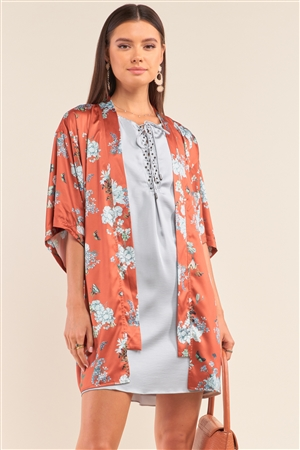 Orange Multi Color Floral Open Front Dolman Sleeve Kimono