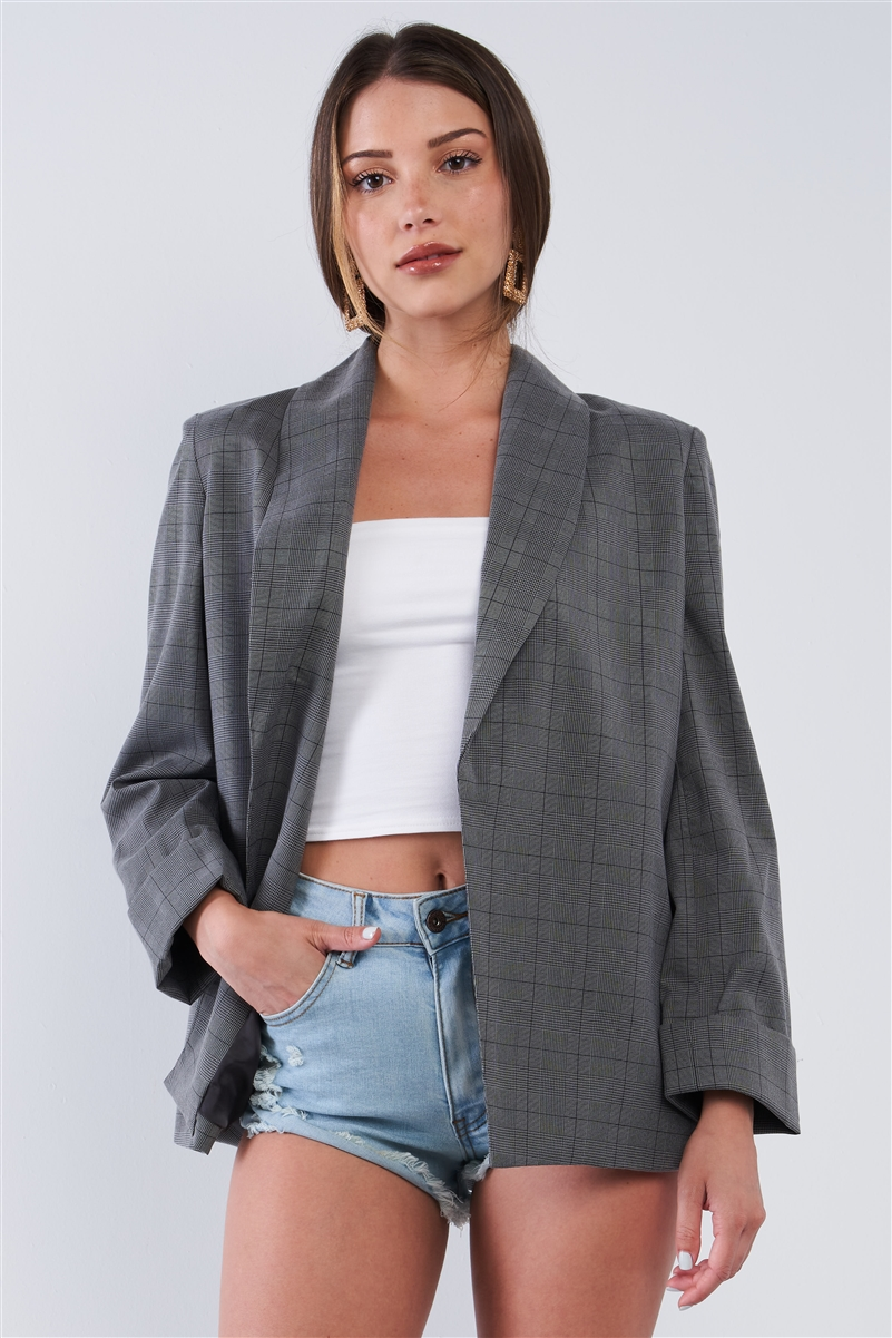 Grey Checkered Print Relaxed Fit Boyfriend Casual Blazer Jacket