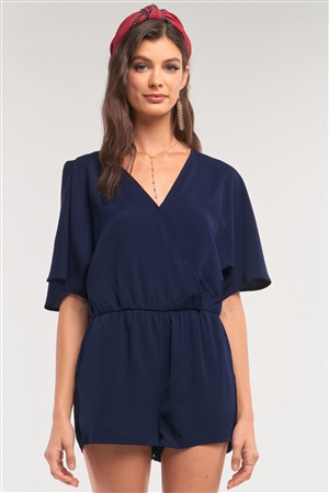 Navy V-Neck Wrap Self-Tie Back Flare Two Side Slip Sleeve Romper /1-2-1