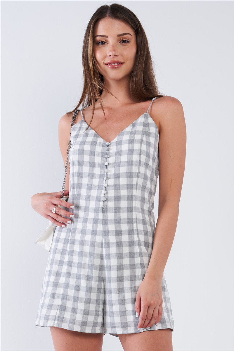 White and Grey Checkered V-Neck Sleeveless Midway Button Down Romper