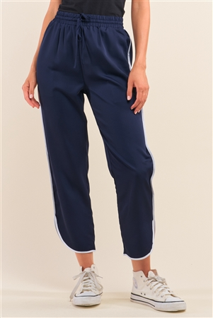 Navy Blue Self-Tie High Waist Asymmetrical Hem Joggers With Front Pockets /1-2-2-1
