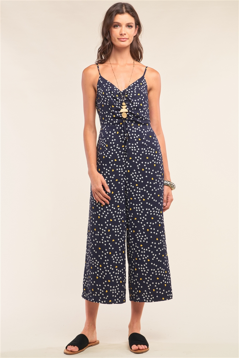 Collecting Hearts Navy Heart Print Sleeveless V-Neck Gathered Chest Draw String Tie Detail Wide Leg Jumpsuit /1-2-2-1