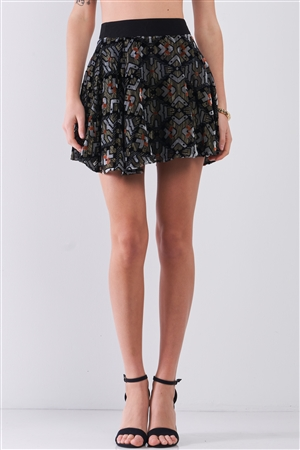 Black Multi Geometric Print Velvet High-Waisted Flare Mini Skirt /1-1-2-1