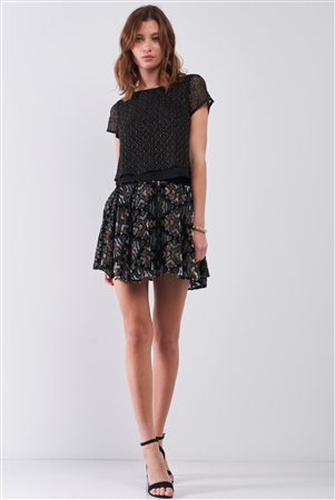 Black Multi Geometric Print Velvet High-Waisted Flare Mini Skirt /1-2-2-1