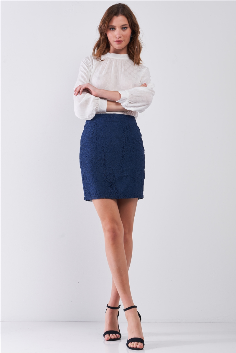 Navy Crochet High-Waisted Fitted Pencil Mini Skirt / 1-2-2-1