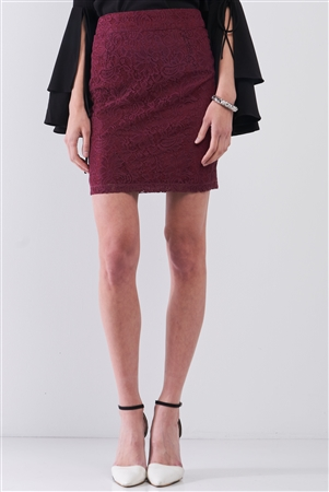 Wine Crochet High-Waisted Fitted Pencil Mini Skirt / 1-2-2-1
