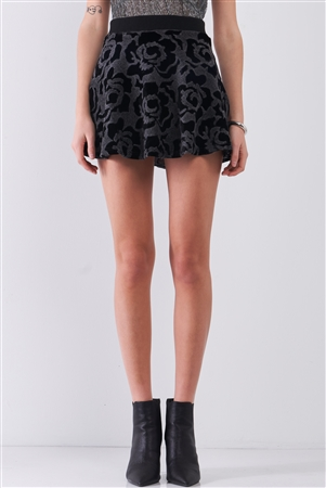 Black & Grey Rose Print Velvet Woolen Ribbed Elasticated Waist Flare Mini Skirt /1-2-2-1