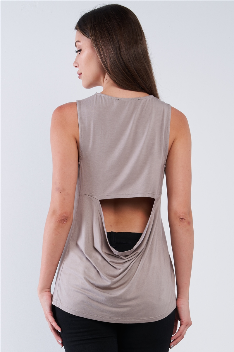Taupe Grey Cut Out Back Relaxed Fit Crew-Neck Sleeveless Casual Tunic Top