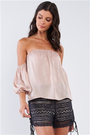 Solid Tan Beige Elegant Satin Loose Fit Off-The-Shoulder Balloon Midi Sleeve Cropped Top