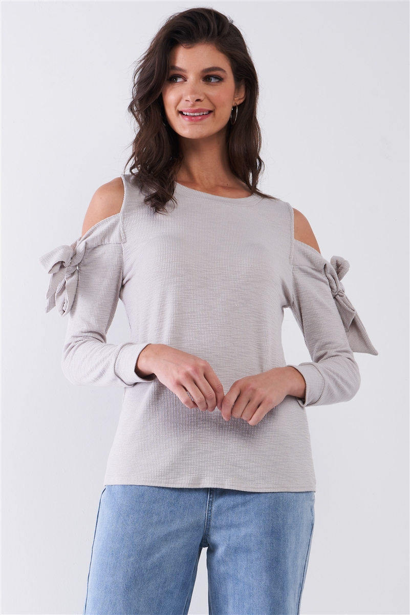 Heather Grey Ribbed Self-Tie Cut-Out Shoulder Round Neck Lounge Top /1-2-2-1