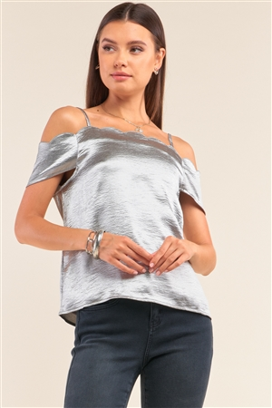 Metallic Silver Satin Off-The-Shoulder Scallop Hem Babydoll Top /1-2-2-1