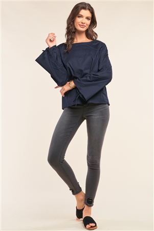 Dark Blue Bateau Neck Relaxed Fit Draw String Gathering Flare Sleeve Detail Top /1-2-2-1