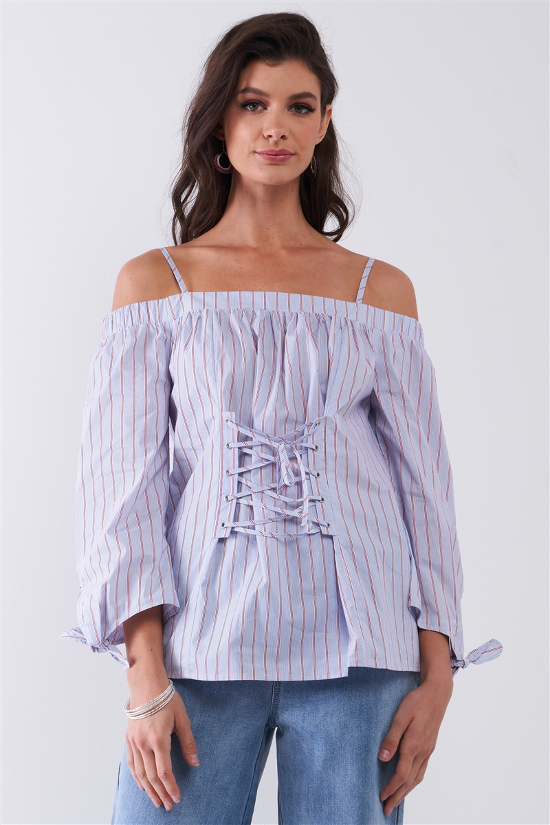 Blue & Red Pinstriped Off-The-Shoulder Balloon Sleeve Corset Lace-Up Front Detail Blouse /1-2-2-1