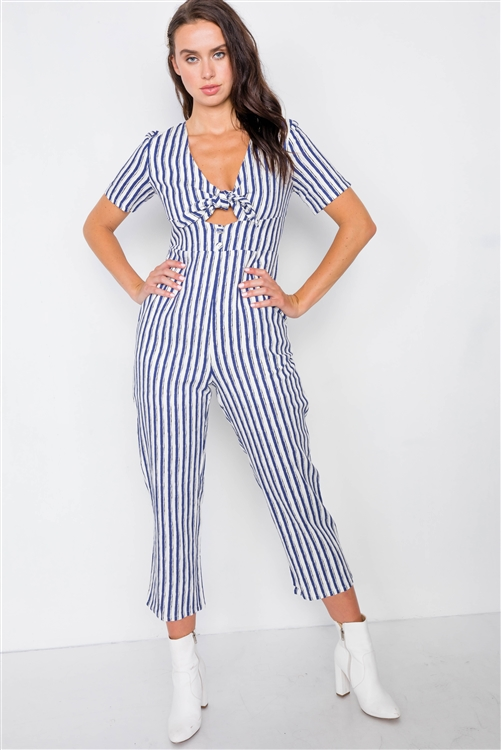 Ivory & Blue Stripe Bow Cut Out Wide Leg Jumpsuit