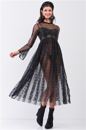Black Boho Vintage Sheer Lace Round Neck Flare Long Sleeve Midi Dress /2-2-2
