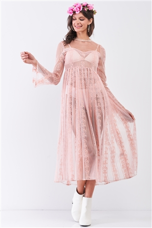 Light-Pink Boho Vintage Sheer Lace Round Neck Flare Long Sleeve Midi Dress /2-2-2