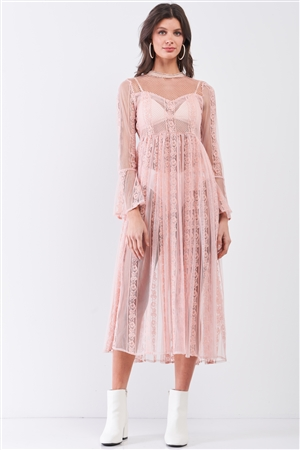 Light-Pink Boho Vintage Sheer Lace Round Neck Flare Long Sleeve Midi Dress /2-2-3