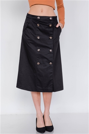 Black Double Button Cotton A-Line Midi Skirt
