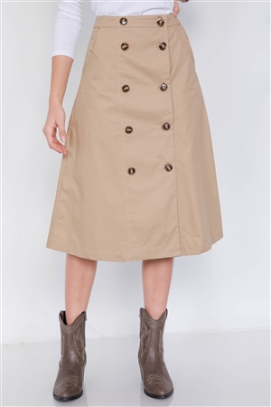 Taupe Double Button Cotton A-Line Midi Skirt