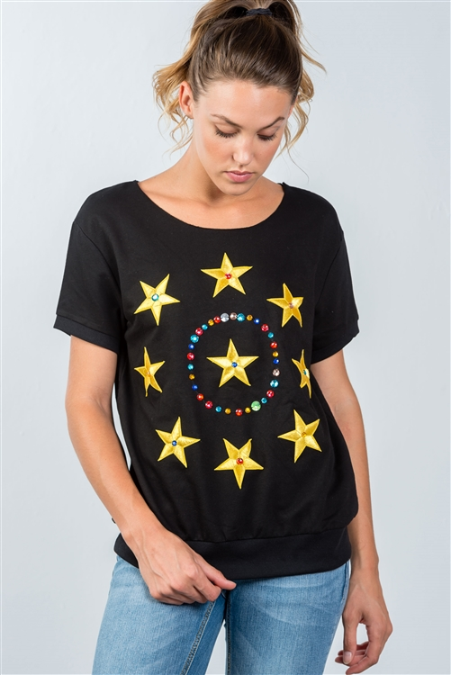 Black And Gold Star Embroidered Textured SweatShirt