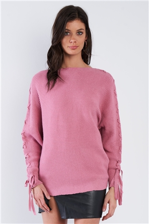 Mauve Pink Lace Up Drop Shoulder Relaxed Fit Knit Sweater