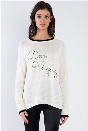 "Cream White & Black Trim ""Bon Voyage"" Relaxed Fit Sweater"