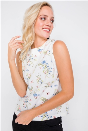 Ivory Multi Mixed Linen Chic Floral Sleeveless Tank Top