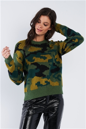 Multi Army Camouflage Knit Relaxed Fit Sweater