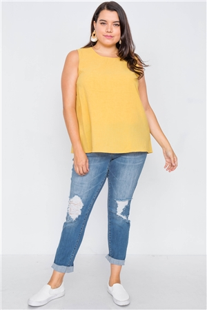 Plus Size Mustard Semi-Sheer Casual Back Button Tank