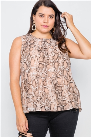 Nude Snake Print Back Keyhole Button Casual Top