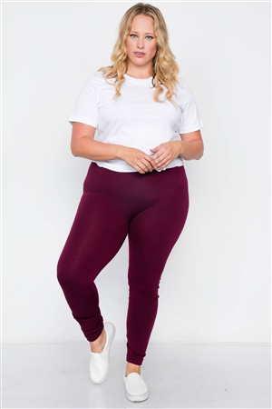Plus Size Burgundy Fleece Lined Solid Leggings