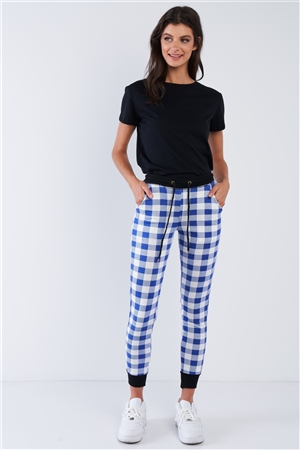 Blue And White Checkered Jogger Pants