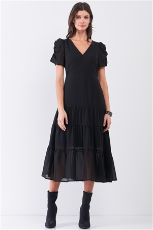 Black Short Ruched Sleeve V-Neck Tiered Midi Dress /2-2-2
