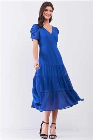 Royal-Blue Short Ruched Sleeve V-Neck Tiered Midi Dress /2-2-2