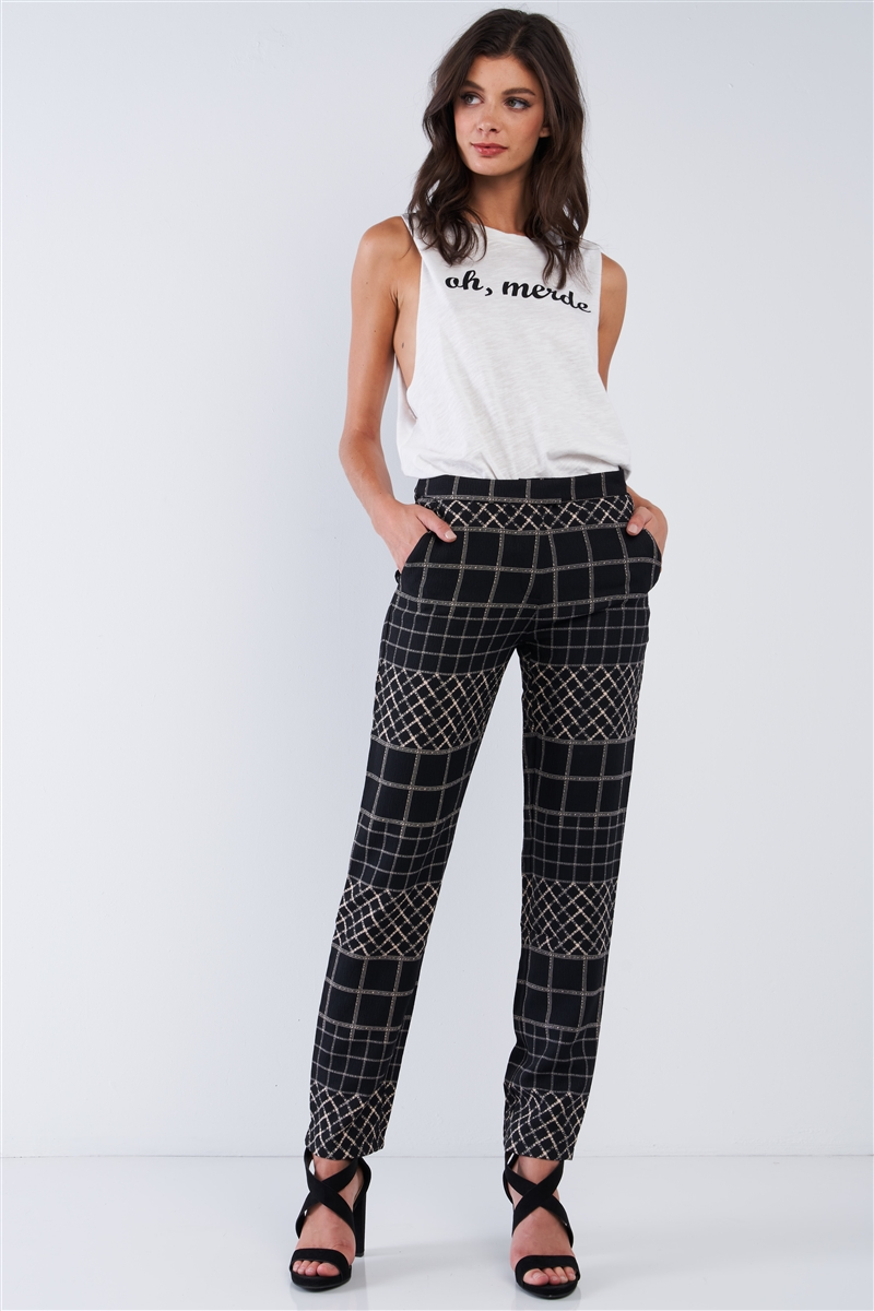 Black Tan Printed Relaxed Fit Slack Pant /2-2-2-1