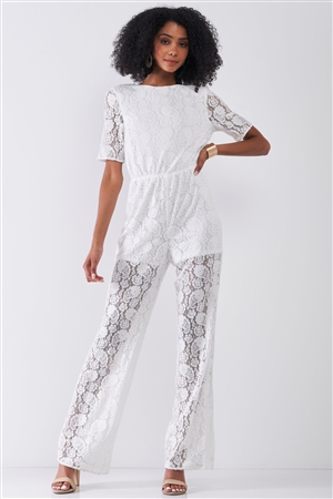 Delicate White Sheer Lace Crochet Semi-Sheer Self-Tie Neck Open Back Detail Wide Leg Jumpsuit
