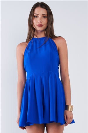 Royal Blue Sleeveless Open Back Knot Tie Up Romper /1-2-2-1