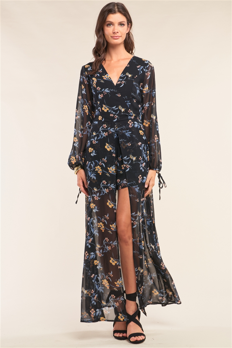 Black Multicolor Floral Print Wrap Deep Plunge V-Neck Long Sleeve Semi-Dress Romper /1-2-3-1
