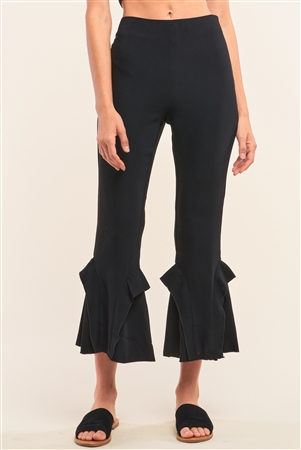 Black High Waisted Fitted Ruffle Trim Flare Detail Capri Pants