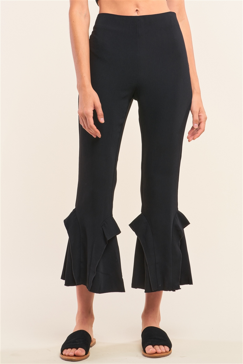 Black High Waisted Fitted Ruffle Trim Flare Detail Capri Pants /1-2-2-1