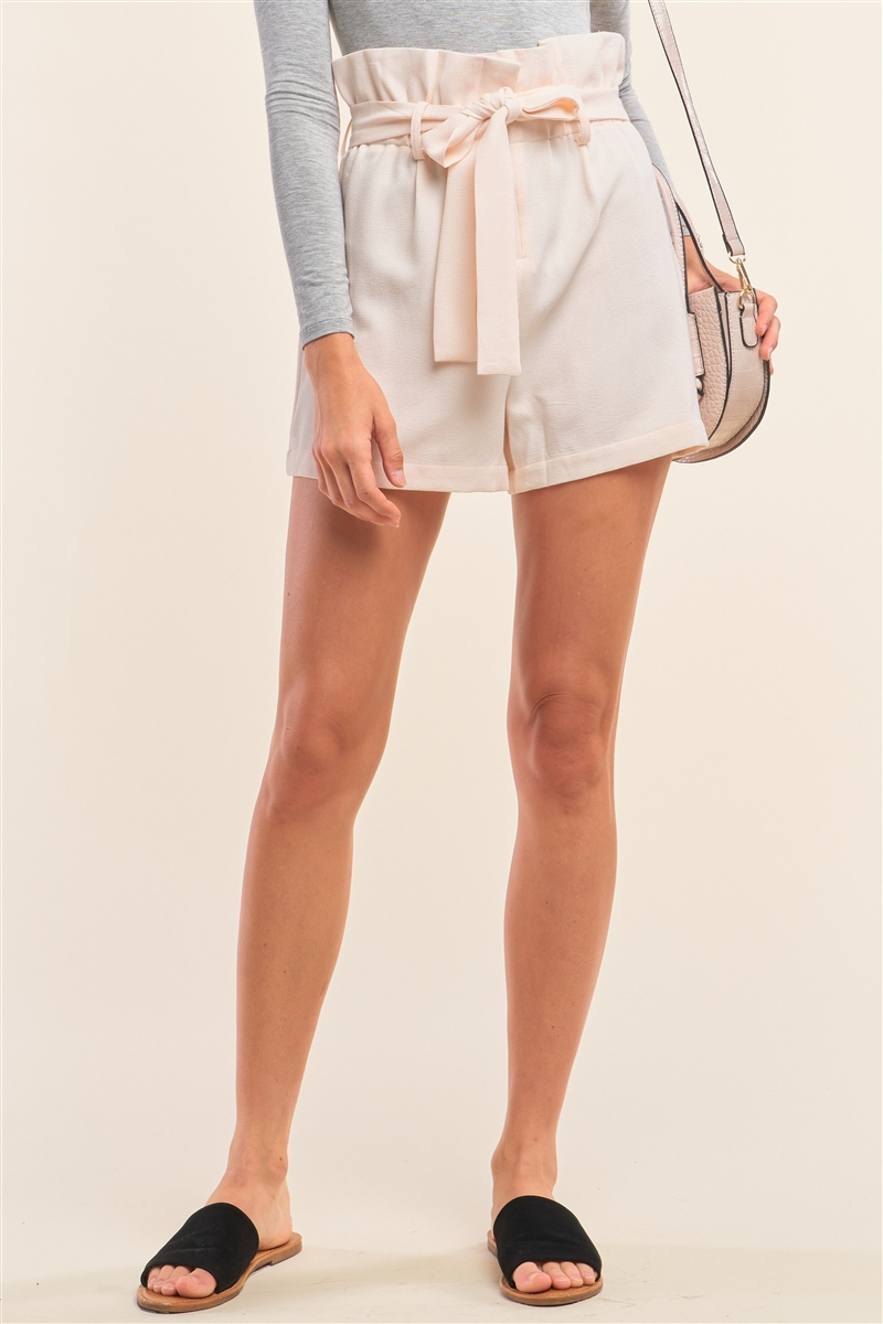 Ivory Nude Solid High Waisted Detachable Self-Tie Belt Flare Mini Shorts /1-2-2-1