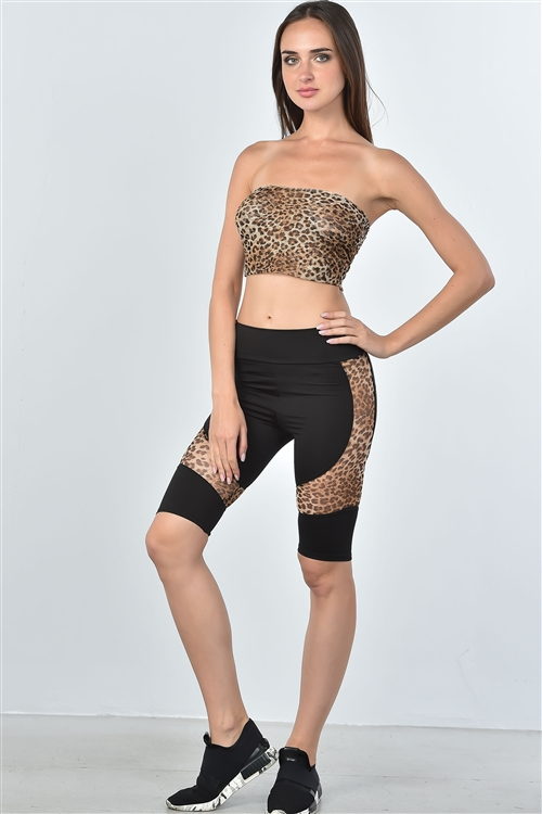 Leopard Mesh Side Knee Length Shorts