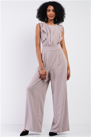 Oyster Sleeveless Front Ruffle Open Back Bow Tie Detail Wide Leg Pleated Jumpsuit