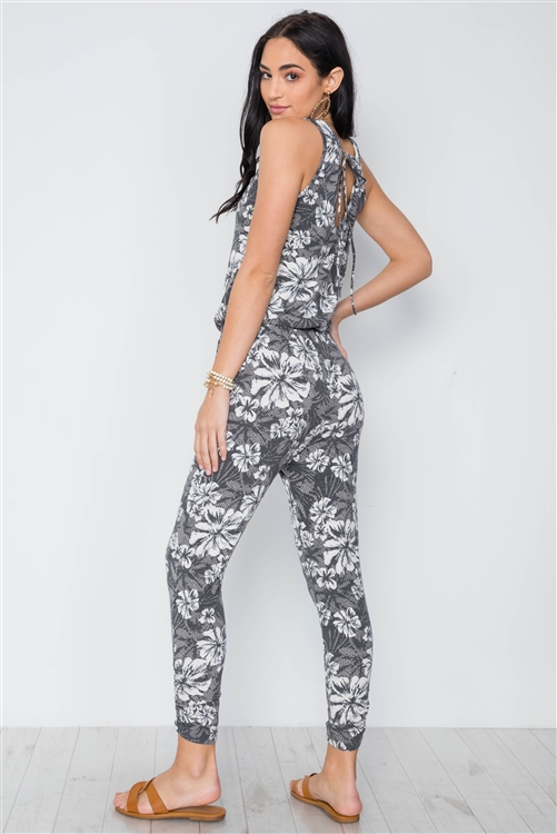 Grey White Floral Print Sleeveless Knit Jumpsuit