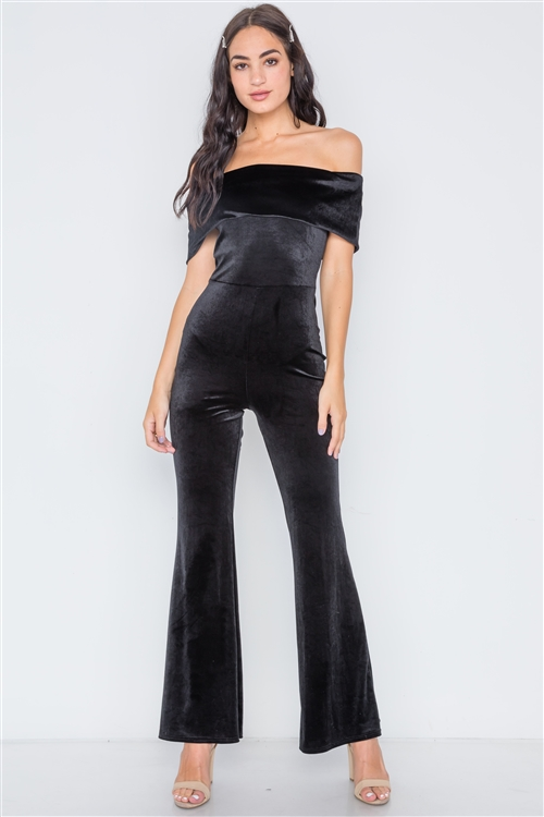Black Off-The-Shoulder Bodycon Evening Jumpsuit
