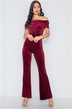 Burgundy Off-The-Shoulder Bodycon Evening Jumpsuit