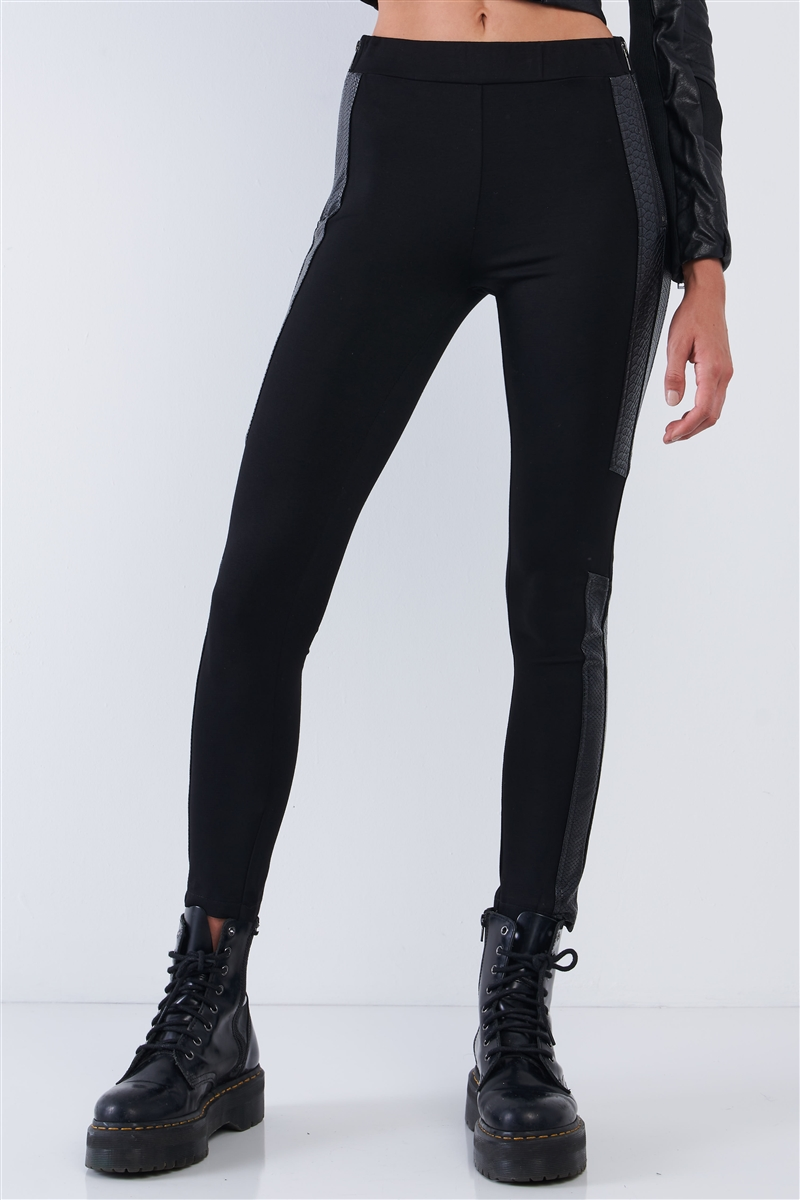 Black High Waisted Vegan Leather Python Print Trim Side Zipper Detail Tight Fit Legging Pants /2-2-2