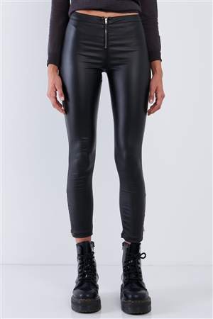 Black Vegan Leather High Waisted Slim Fit Front Zipper Detail Pants /2-2-2