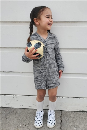 Girls Heather Grey Long Sleeve V-Neck Front Button Down Romper /1-1-2-1-1